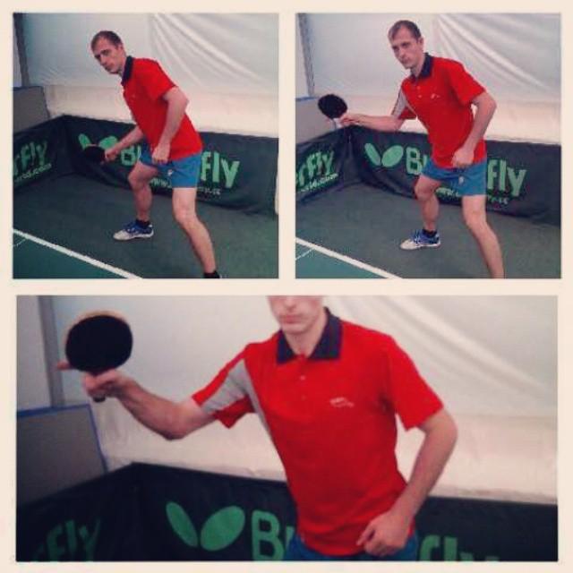 Обучение настольному теннису. Выполнение топспина справа
