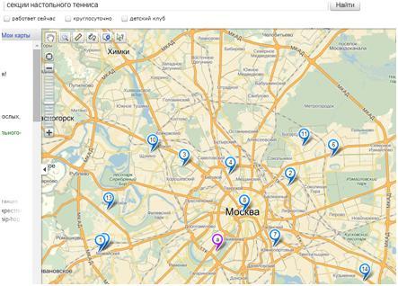 Секции настольного тенниса на карте Москвы